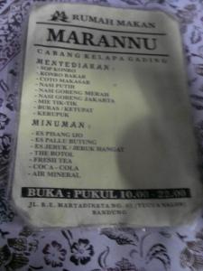 menu Rumah Makan Marannu Riau